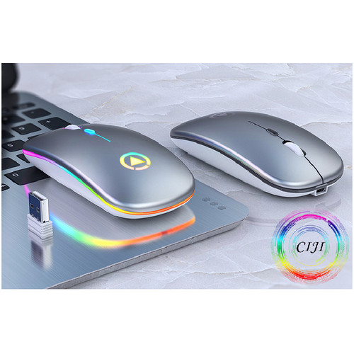 Foto Produk [COD] CIJI Mouse Gaming Wireless 1600DPI LED Backlit Rechargeable - Silver Wireless dari Circle Jaya Indonesia
