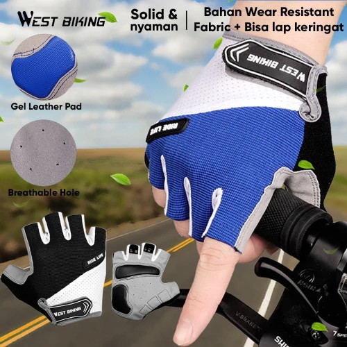 Foto Produk Sarung Tangan Sepeda Bicycle Gloves West Biking A5 Half Gloves Outdoor - Hitam, M dari Unitech Official