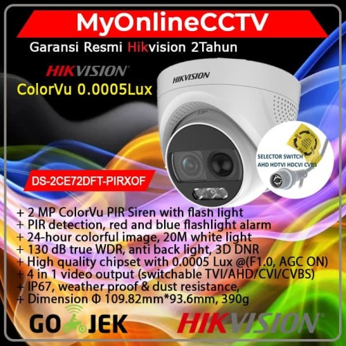 Foto Produk DS-2CE72DFT-PIRXOF Hikvision CCTV Indoor 2MP ColorVu Lampu Sirine dari myonlinecctv