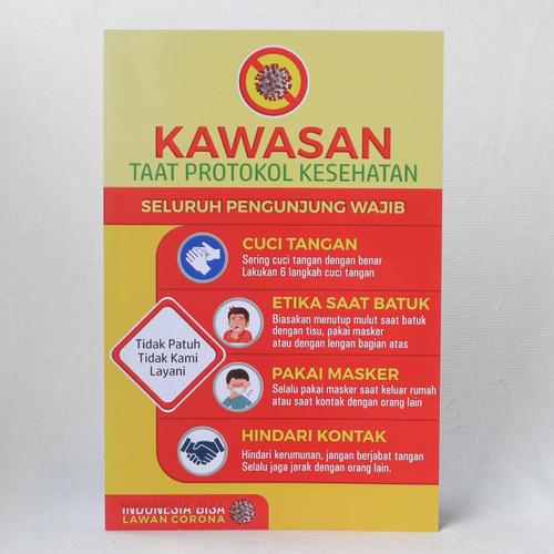 Foto Produk Poster Kawasan Taat Protokol + bonus Botol Handsanitizer dari Syafana