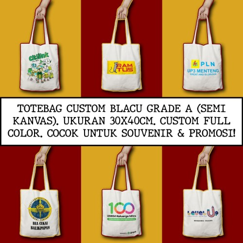 Foto Produk Tote Bag Custom | Totebag Blacu Grade A / Semi Kanvas | Goodie Bag dari Kaosproid