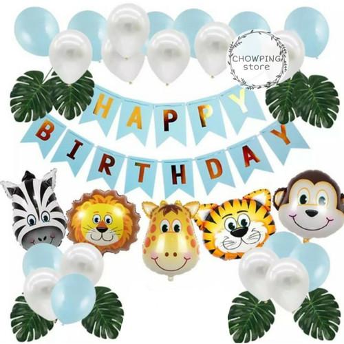 Foto Produk Paket Dekorasi Hiasan Balon Ulang Tahun / Happy Birthday Animal Zoo 01 - Biru dari Chowping Store