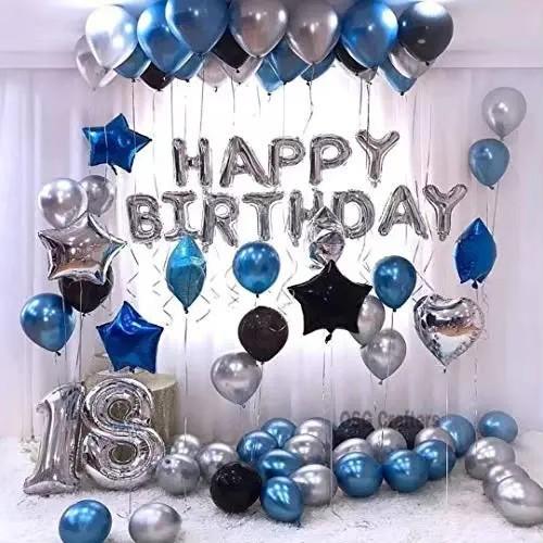 Foto Produk Paket Dekorasi Balon Ulang Tahun / Happy Birthday Silver 02 - Biru dari Chowping Store