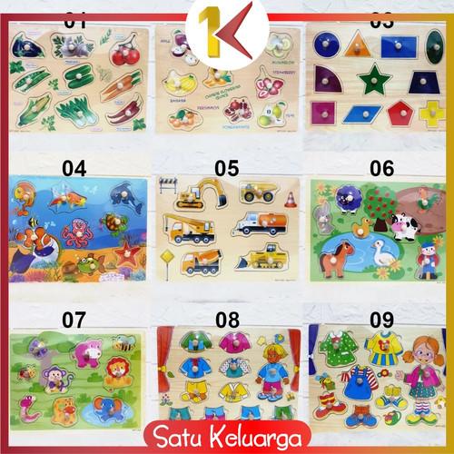 Foto Produk SK-M67-68 Mainan Edukasi Anak Puzzle Kayu Knob Background Bergambar - Part 02, 08 dari Satukeluarga