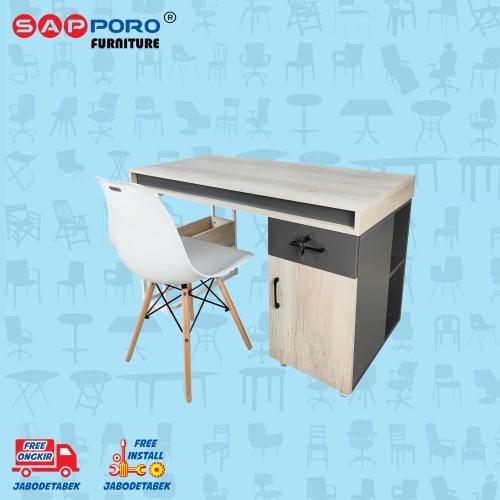 Foto Produk Meja Belajar Set / Meja Kerja Set SAPPORO MUNRO - Wooden White dari Sapporo Furniture Online