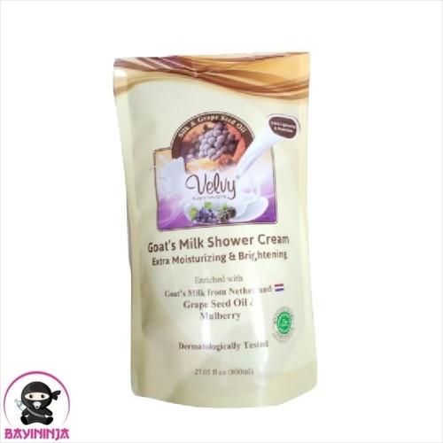 Foto Produk VELVY Goats Milk Shower Cream Silk Grape Seed Refill 800 ml / 800ml dari BAYININJA