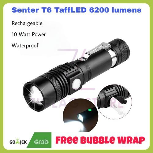 Foto Produk Senter Pocketman Taffled USB Rechargeable XML T6 6200 Lumens 10W dari ZigZag-Store
