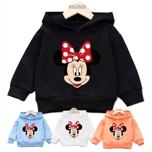 Foto Produk Sweater Hoodie Anak Mini Mouse Sweater Fleece Baju Anak Pakaian Anak - Hitam, L dari Abi-so