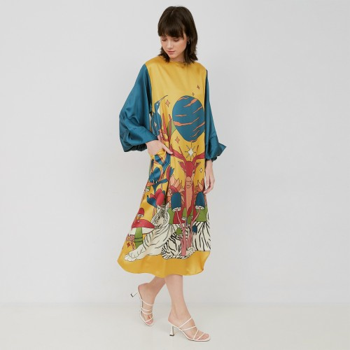 Foto Produk Nona Retro Dress Suri Long Sleeve Yellow dari nona_ind