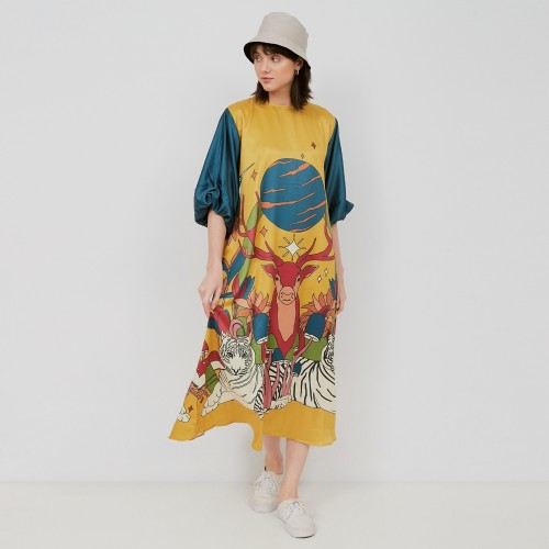 Foto Produk NONA Retro Dress Suri Short Sleeve Yellow dari nona_ind