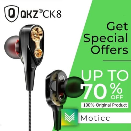 Foto Produk QKZ CK8 With Mic Earphone Dual Driver Original dari Moticc