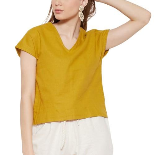 Foto Produk NOA Everyday Blouse Wanita YUNA Basic V neck - Mustard - M dari Noaeveryday