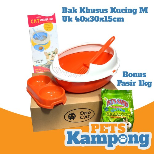 Foto Produk Cat Starter Kit / Bak pasir kucing / Toilet kucing / Litter box - Orange dari Pets Kampong