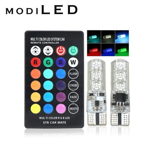 Foto Produk 2PC LAMPU SENJA LED RGB T10 5050 SMD 16 WARNA MOTOR DAN MOBIL dari Modifikasi Market
