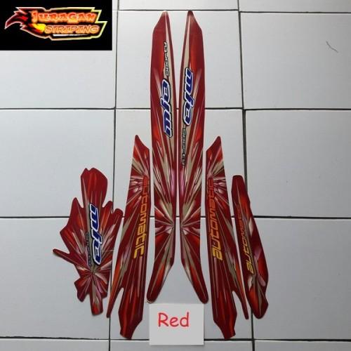 Foto Produk Striping Stiker Motor Yamaha Mio Sporty Kembang Api 2008 Lis Merah dari juragan striping
