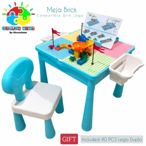 Foto Produk Meja LEGO Besar - Activity LEGO Desk Included Kursi + 40pcs LEGO Duplo dari Diecastindo