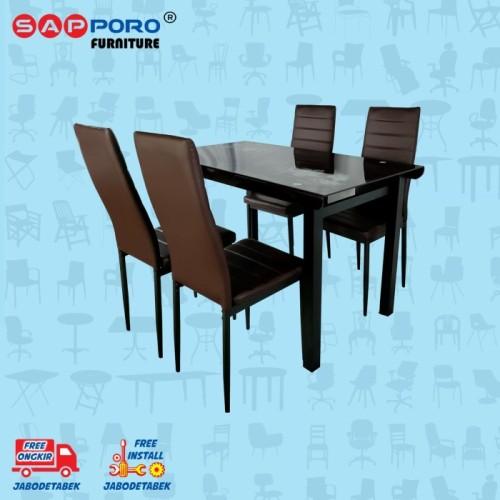 Foto Produk Dining Set / Meja Makan Set SAPPORO PERTH - Brown dari Sapporo Furniture Online