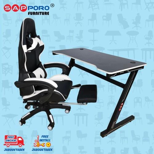 Foto Produk Meja Set Gaming / Set Gaming Desk SAPPORO OXTON - White & Black dari Sapporo Furniture Online