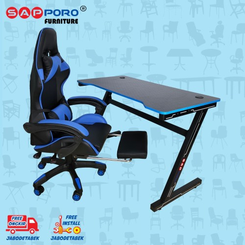 Foto Produk Meja Set Gaming / Set Gaming Desk SAPPORO OXTON - Blue & Black dari Sapporo Furniture Online