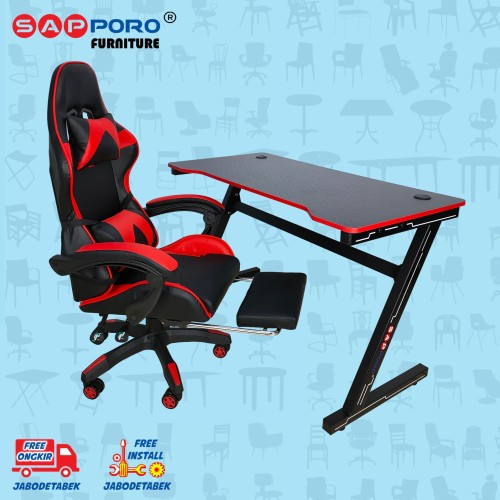 Foto Produk Meja Set Gaming / Set Gaming Desk SAPPORO OXTON - Red & Black dari Sapporo Furniture Online