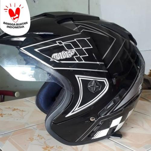 Foto Produk Helm DMN 2 kaca double visor moto gp black doff abu - Biru, Ukuran L dari Lamora