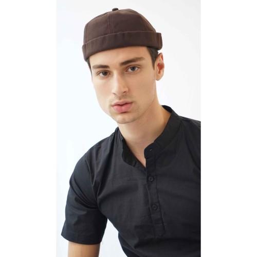Foto Produk Peci Beanie Polos Miki Hat Kopiah Topi Hijrah Muslim Cokelat dari House of Cuff