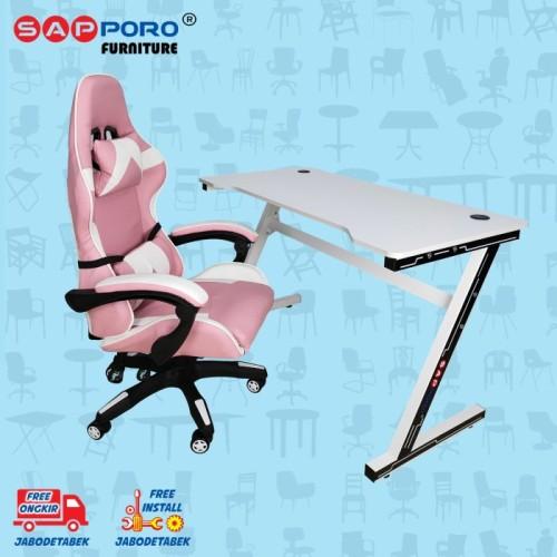 Foto Produk Meja Set Gaming / Set Gaming Desk SAPPORO Saxton - Pink & White dari Sapporo Furniture Online