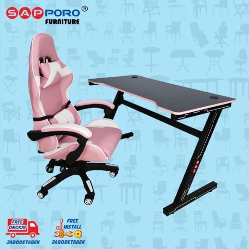 Foto Produk Meja Set Gaming / Set Gaming Desk SAPPORO Saxton - Pink & Black dari Sapporo Furniture Online
