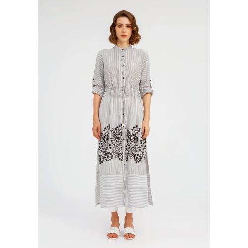 Foto Produk Striped Embroidered Shirt Dress BLACK STRIPE - M dari minimal