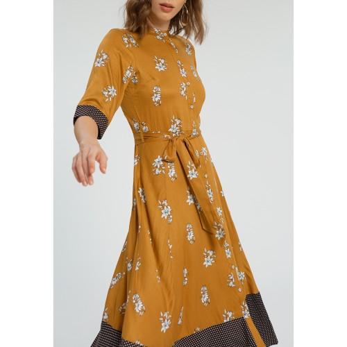 Foto Produk Contrast Print 3/4 Sleeves Dress Mustard Flower Combo - M dari minimal