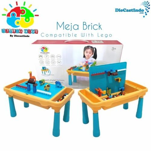 Foto Produk Meja Brick Building Block Activity Desk bloks Included Bricks 300 pcs - Meja Lego Set dari Diecastindo