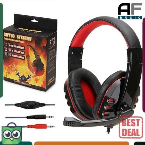 Foto Produk Headphone Gaming with Mic Soyto SY733MV - Headset BassTreble Pakai Mik - Hitam dari AF Music Studio