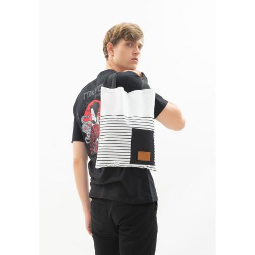 Foto Produk Tote Bag Canvas houseofcuff tas jinjing unisex pria wanita white line dari House of Cuff