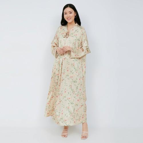 Foto Produk NONA Raya Abaya Dress Long Sleeve Cream - Aghnia Series dari nona_ind
