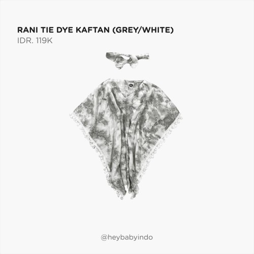 Foto Produk Hey Baby Rani Tie Dye Kaftan - Grey / White, 3-4y dari Hey! Baby