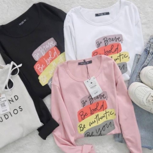 Foto Produk JRstore Tumbrl Tee LongSleeve Be Brave Lengan Panjang Kaos Wanita - hitam dari JR Top Store