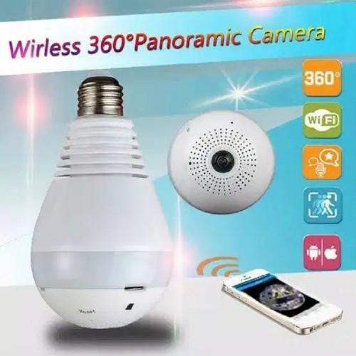 Foto Produk CCTV Wifi Panoramic 360 derajat 1080P Lampu IP Kamera CCTV 3D VR V20D dari SmartClick