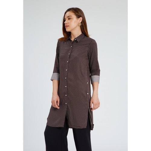 Foto Produk Minimal 3/4 Sleeves Tunic Blouse Polkadot Black Combo - XL dari minimal