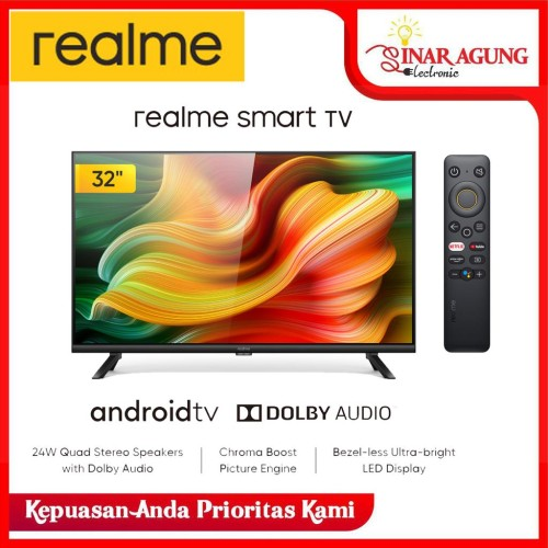 Foto Produk Realme Smart LED TV 32 inch Android 9.0 Bazel less Dolby Audio dari sinar agung electronic
