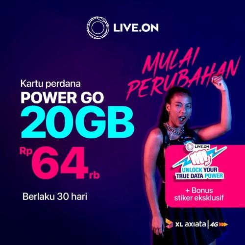 Foto Produk Kartu Perdana Live.On XL Power Go 20GB (30 hari) & Sticker C dari Live On Official Store