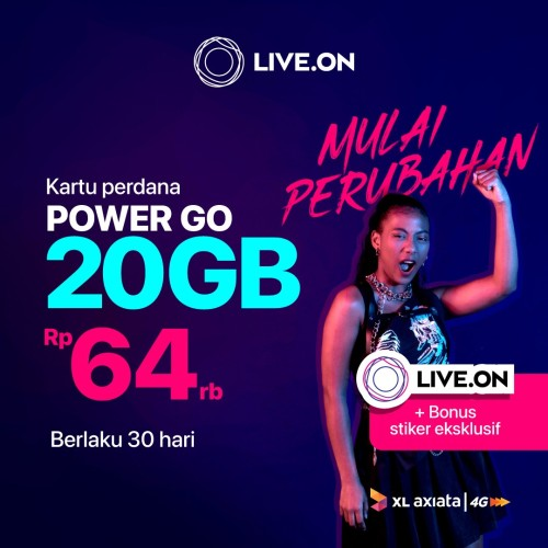 Foto Produk Kartu Perdana Live.On XL Power Go 20GB (30 hari) & Sticker A dari Live On Official Store