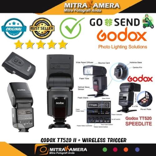 Foto Produk Godox TT520 II + Wireless Trigger (Universal SpeedliteFlash) - Hitam dari mitrakamera