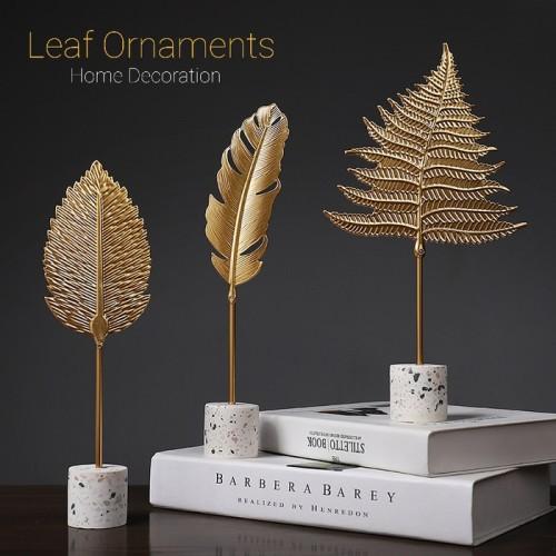 Foto Produk Golden Leaf Feathers Ornament Home Decoration Hiasan Rumah Daun Emas - 004 dari Ahoki Store