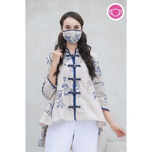 Foto Produk Amanda Indigo T0567,Baju atasan blouse batik wanita modern Nonarara - S dari Nona Rara Batik