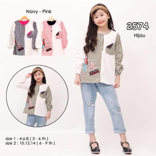 Foto Produk Kemeja Anak Perempuan / Baju Blus Anak Perempuan Cewek - RP - Navy, Uk 6: 4-5 Thn dari Remi Premium