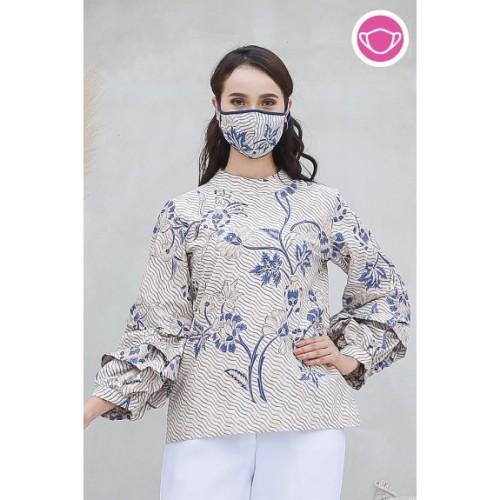 Foto Produk Keropi Indigo T0568,Baju atasan blouse batik wanita modern nonarara - L dari Nona Rara Batik