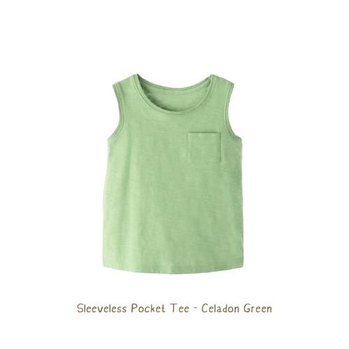 Foto Produk Kaos Anak - Sleeveless Pocket Tees (1-6 TAHUN) - Celadon Green, 5Years dari Booyahkids