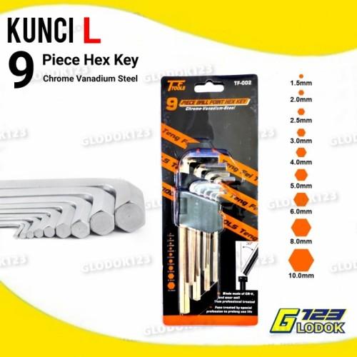 Foto Produk Kunci L Panjang 9 Piece Hex Key Kunci L Set - Tanpa Bubble dari Glodok123