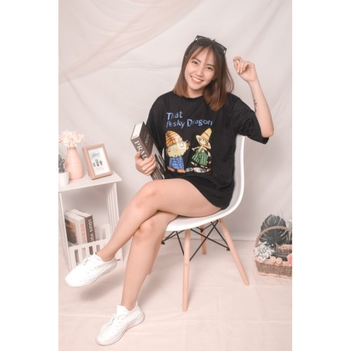Foto Produk Atasan baju oversize hitam bergambar Dragon bahan spandex size fit XL - Hitam dari classfashion_official