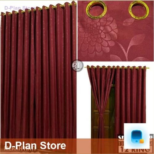Foto Produk Gorden Jendela Hordeng Pintu Minimalis Smokring 12 Ring (DPS) - MAROON dari D-Plan Store